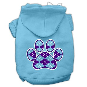Argyle Paw Purple Screen Print Pet Hoodies Baby Blue Size Sm (10)