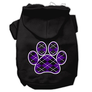 Argyle Paw Purple Screen Print Pet Hoodies Black Size XXXL (20)