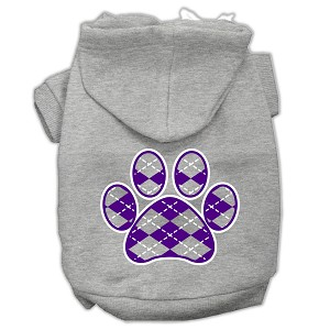 Argyle Paw Purple Screen Print Pet Hoodies Grey Size Med (12)