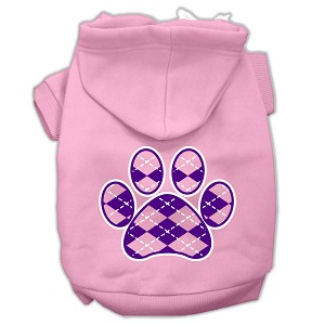Argyle Paw Purple Screen Print Pet Hoodies Light Pink Size Med (12)