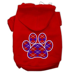 Argyle Paw Purple Screen Print Pet Hoodies Red Size XL (16)