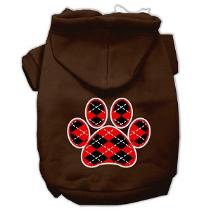 Argyle Paw Red Screen Print Pet Hoodies Brown Size Sm (10)