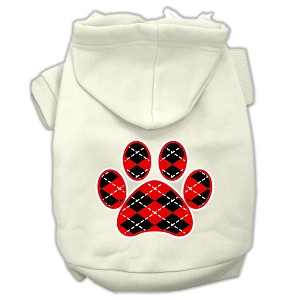 Argyle Paw Red Screen Print Pet Hoodies Cream Size XS (8)