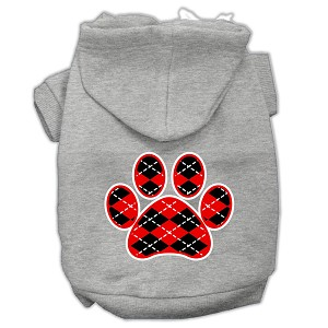 Argyle Paw Red Screen Print Pet Hoodies Grey Size XS (8)