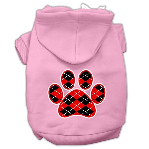 Argyle Paw Red Screen Print Pet Hoodies Light Pink Size Med (12)