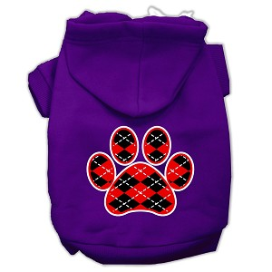 Argyle Paw Red Screen Print Pet Hoodies Purple Size Lg (14)