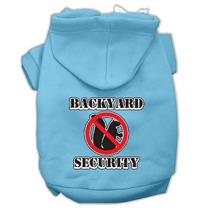 Backyard Security Screen Print Pet Hoodies Baby Blue Size XS (8)
