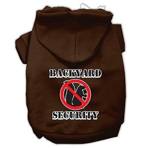 Backyard Security Screen Print Pet Hoodies Brown Size XXL (18)