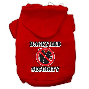 Backyard Security Screen Print Pet Hoodies Red Size L (14)