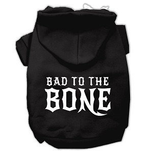 Bad to the Bone Dog Pet Hoodies Black Size Sm (10)