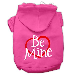 Be Mine Screen Print Pet Hoodies Bright Pink Size Lg (14)
