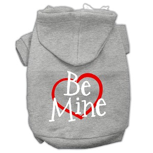 Be Mine Screen Print Pet Hoodies Grey Size XL (16)