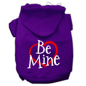 Be Mine Screen Print Pet Hoodies Purple Size XL (16)