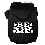 Be Thankful for Me Screen Print Pet Hoodies Black Size XS (8)