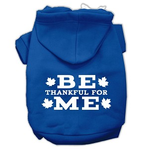 Be Thankful for Me Screen Print Pet Hoodies Blue Size M (12)