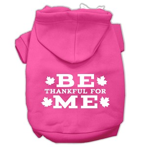 Be Thankful for Me Screen Print Pet Hoodies Bright Pink Size XL (16)