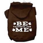 Be Thankful for Me Screen Print Pet Hoodies Brown Size XS (8)