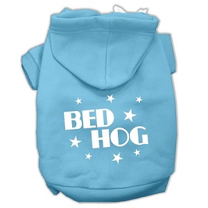 Bed Hog Screen Printed Pet Hoodies Baby Blue Size Lg (14)