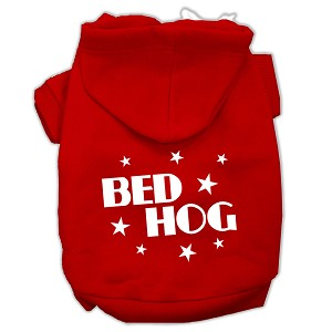 Bed Hog Screen Printed Pet Hoodies Red Size Lg (14)