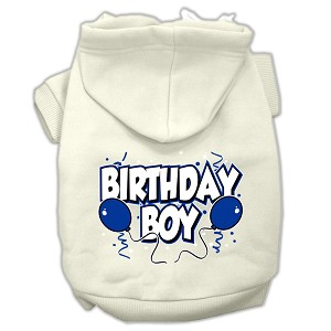 Birthday Boy Screen Print Pet Hoodies Cream Size XXL (18)