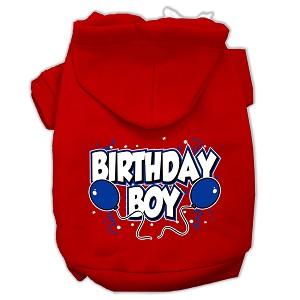 Birthday Boy Screen Print Pet Hoodies Red Size Sm (10)