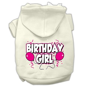 Birthday Girl Screen Print Pet Hoodies Cream Size Sm (10)