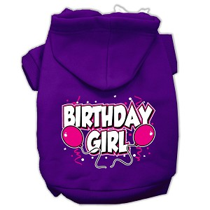Birthday Girl Screen Print Pet Hoodies Purple Size XL (16)