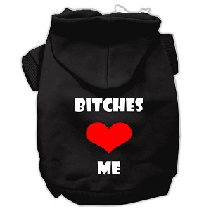 Bitches Love Me Screen Print Pet Hoodies Black Size XXXL (20)