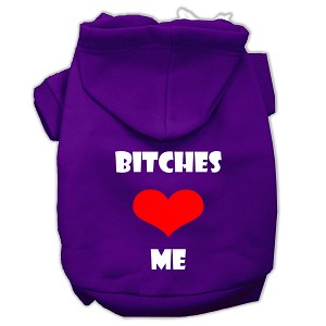 Bitches Love Me Screen Print Pet Hoodies Purple Size Sm (10)