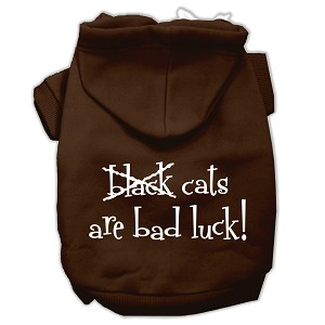 Black Cats are Bad Luck Screen Print Pet Hoodies Brown Size XL (16)