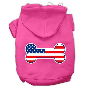 Bone Shaped American Flag Screen Print Pet Hoodies Bright Pink Size M (12)