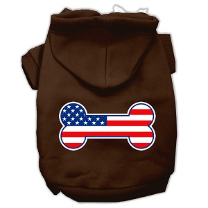 Bone Shaped American Flag Screen Print Pet Hoodies Brown Size XXXL(20)