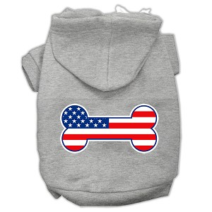 Bone Shaped American Flag Screen Print Pet Hoodies Grey Size S (10)