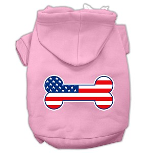 Bone Shaped American Flag Screen Print Pet Hoodies Light Pink Size XS (8)