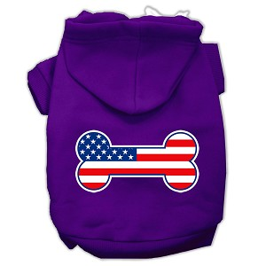 Bone Shaped American Flag Screen Print Pet Hoodies Purple Size XS (8)