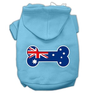 Bone Shaped Australian Flag Screen Print Pet Hoodies Baby Blue XL (16)