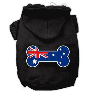 Bone Shaped Australian Flag Screen Print Pet Hoodies Black L (14)