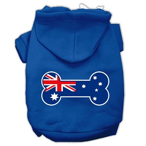 Bone Shaped Australian Flag Screen Print Pet Hoodies Blue Size XL (16)