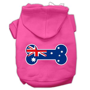 Bone Shaped Australian Flag Screen Print Pet Hoodies Bright Pink Size M (12)