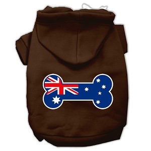 Bone Shaped Australian Flag Screen Print Pet Hoodies Brown Size XXXL(20)