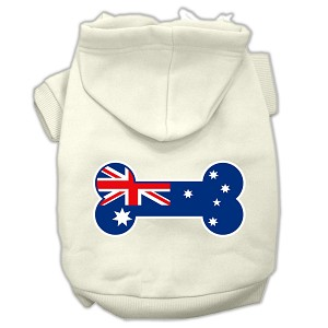 Bone Shaped Australian Flag Screen Print Pet Hoodies Cream Size XXXL(20)