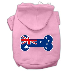 Bone Shaped Australian Flag Screen Print Pet Hoodies Light Pink Size L (14)