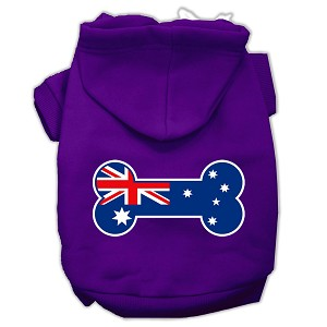 Bone Shaped Australian Flag Screen Print Pet Hoodies Purple XL (16)