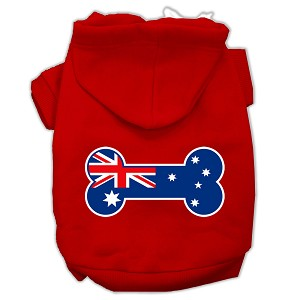 Bone Shaped Australian Flag Screen Print Pet Hoodies Red Size XXL (18)