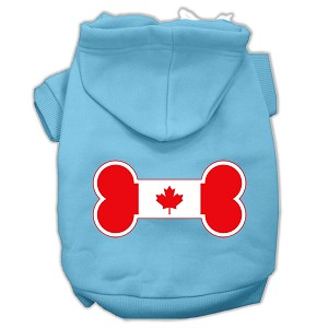 Bone Shaped Canadian Flag Screen Print Pet Hoodies Baby Blue XXL (18)