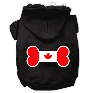 Bone Shaped Canadian Flag Screen Print Pet Hoodies Black XXXL(20)