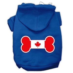 Bone Shaped Canadian Flag Screen Print Pet Hoodies Blue S (10)