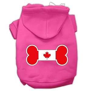 Bone Shaped Canadian Flag Screen Print Pet Hoodies Bright Pink S (10)
