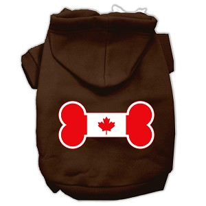 Bone Shaped Canadian Flag Screen Print Pet Hoodies Brown Size Sm (10)