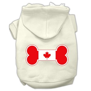 Bone Shaped Canadian Flag Screen Print Pet Hoodies Cream L (14)